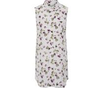 Slim Signature Floral-print Silk Mini Dress Hellgrau