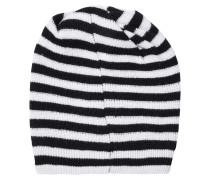 Striped Merino Wool Beanie Schwarz
