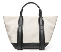 Hybrid Cotton And Leather Tote Bag Creme