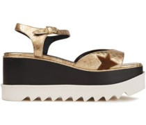 Woman Faux Snake-effect Leather Platform Sandals Gold
