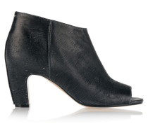 Textured-leather Peep-toe Ankle Boots Schiefer