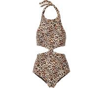 Cutout Leopard-print Swimsuit Leoparden-Print