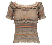 Atmos Off-the-shoulder Ruffled Cotton-blend Top Mehrfarbig