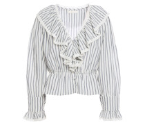 Lace-trimmed Ruffled Striped Cotton-gauze Top