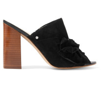 Yumi Bow-embellished Suede Sandals Schwarz