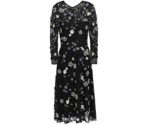 Woman Floral-appliquéd Embroidered Chantilly Lace Dress Black