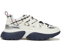 Karierte Sneakers aus Tweed und Leder mit Metallic-besatz