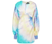 Aubrielle Tie-dyed Stretch-silk Satin Mini Dress