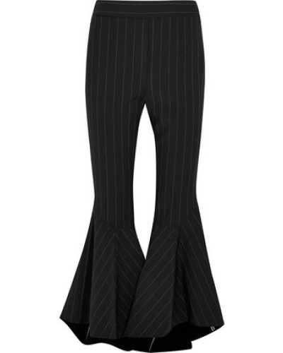 Cropped Pintstriped Crepe Flared Pants Black Size 12