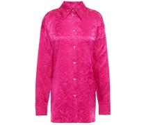 Hemd aus Glänzendem Jacquard mit Floralem Print und Gürtel