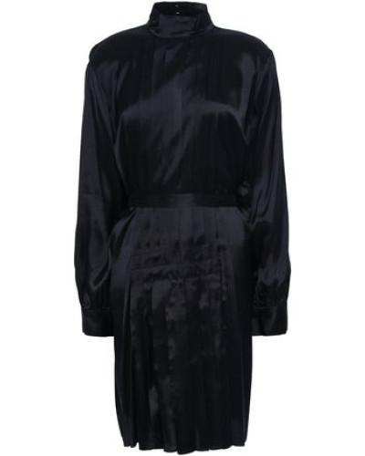Pleated Twill Dress Black