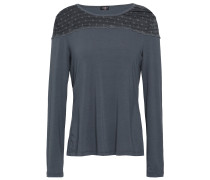 Woman Lace-paneled Modal-blend Pajama Top Anthracite