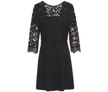 Open-back Layered Corded Lace And Crepe Mini Dress