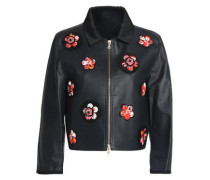 Floral-appliquéd leather biker jacket