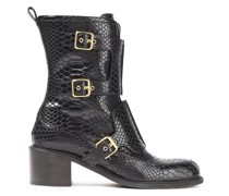 Buckled Croc-effect Faux Leather Boots