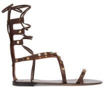 Rockstud embellished leather sandals