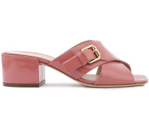 Buckle-embellished Patent-leather Mules