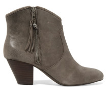 Jess Cracked-leather Ankle Boots Grau