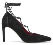 Foxy Lace-up Suede Pumps Schwarz