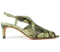 Nina 60 Woven Snake-effect Leather Slingback Sandals