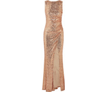 Draped Sequined Tulle Gown Puder