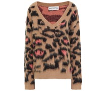 Brushed Leopard-print Jacquard-knit Sweater