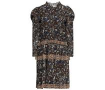 Walker Gestuftes Kleid aus Gaze mit Metallic-effekt, Floralem Print und Rüschen