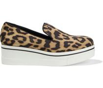 Binx Leopard-print Velvet Platform Slip-on Sneakers