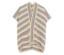 Woven cotton-blend cardigan