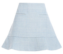 Woodside Flared Checked Wool-blend Felt Mini Skirt