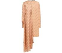 Asymmetric Polka-dot Hammered-satin And Crepe Dress