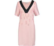 Satin-trimmed distressed crepe dress