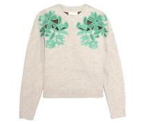 Guipure Lace-paneled Cotton-blend Sweatshirt Hellgrau