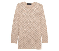 Sequinned Open-knit Cashmere Sweater Beige