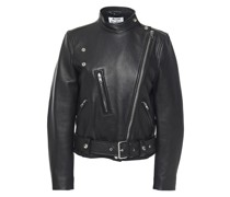 Textured-leather Biker Jacket