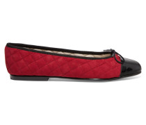 Quilted Suede And Patent-leather Ballet Flats Bordeaux