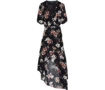 Asymmetric Wrap-effect Floral-print Silk-georgette Dress