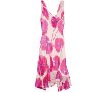 Dita Asymmetric Printed Crinkled-chiffon Dress