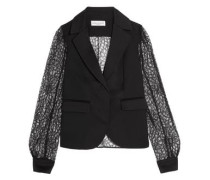 Lace, satin and crepe blazer