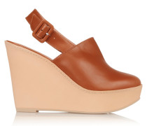 French Leather Wedge Pumps Braun