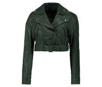 Anesia Cropped Belted Leather Jacket Grün