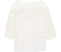 Livier Layered Crocheted Cotton Top White