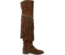 Fringed chain-embellished suede over-the-knee boots