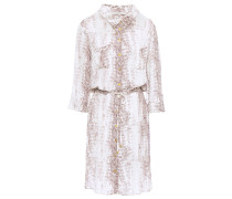 Woman Belted Snake-print Voile Mini Shirt Dress Animal Print