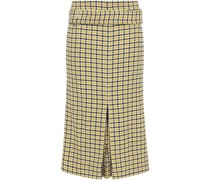 Belted Pleated Checked Jacquard Midi Skirt