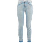 Woman Frayed High-rise Skinny Jeans Light Denim