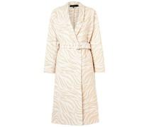 Doppelreihiger Mantel aus Jacquard mit Zebramuster aus Einer Baumwollmischung mit Gürtel