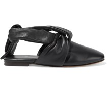 Maia Tie-detailed Leather Slippers