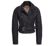 Belted Denim Biker Jacket
