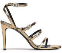 Buckled embellished metallic leather sandals